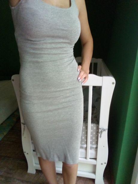 Sukienka bershka xs szara tuba midi