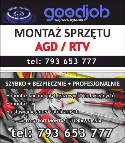Montaż kuchni gazowych, indukcyjnych, TV, anten SAT i DVBT
