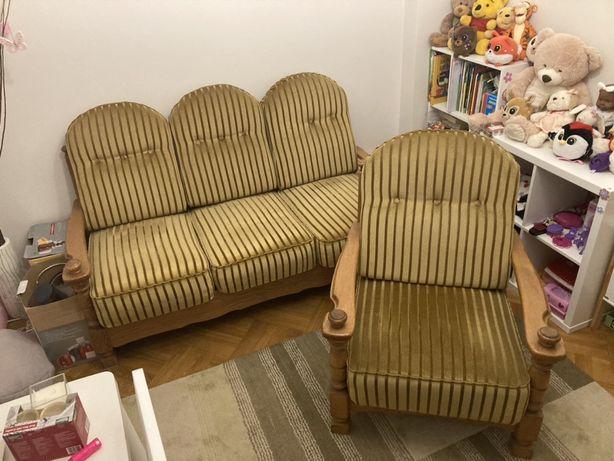 Stylowa dębowa sofa / kanapa plus 2 fotele - wypoczynek