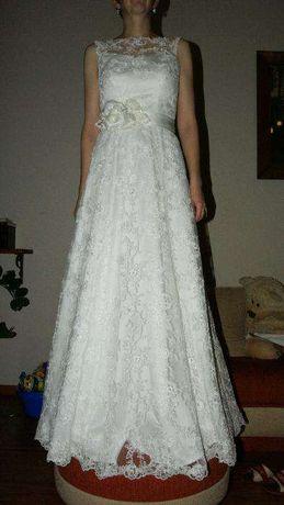 Suknia ślubna z koronki roz 36-38 KOLOR ŚMIETANKA - ECRU + gratis