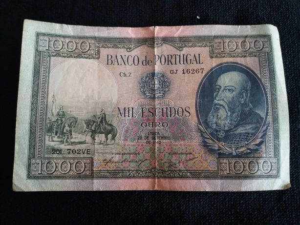 Nota 1000 escudos, D. Afonso Henriques, 1942.