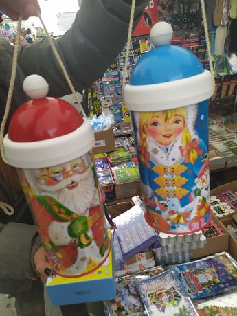 Тубус новогодний для конфет Дед Мороз,Снегурочка  от 250г до 1 кг!