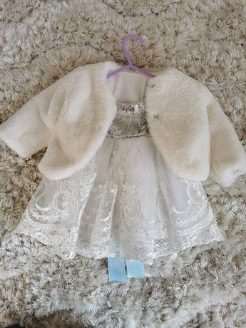 Sukienka  ubranko płaszczyk chrzest rozmiar 80-86