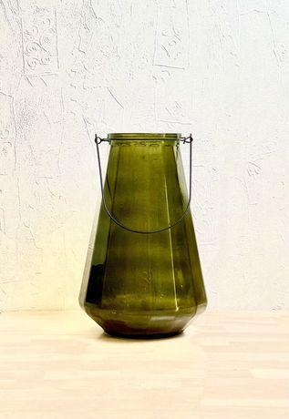Большая стеклянная  ваза, зеленая