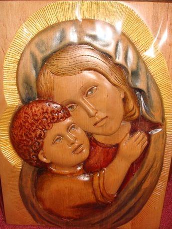 """Резная картина из дерева """"Мать и дитя"""" ( резьба по дереву)"""