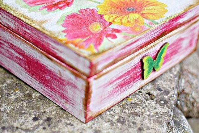Skrzynka drewniana decoupage, pudełko drewniane