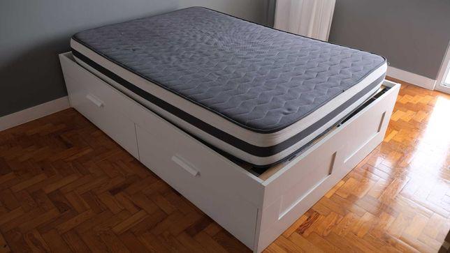 Cama IKEA Casal BRIMNES branca 140x200 c/ estrados Luröy + colchão