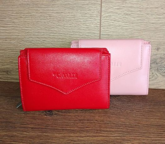 Женский кошелек кожаный небольшой розовый красный CAVALDI