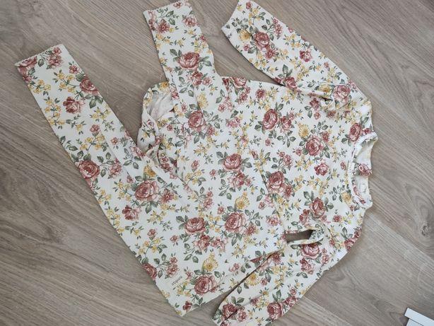 Komplet w kwiatki body + legginsy kokardką newbie 86