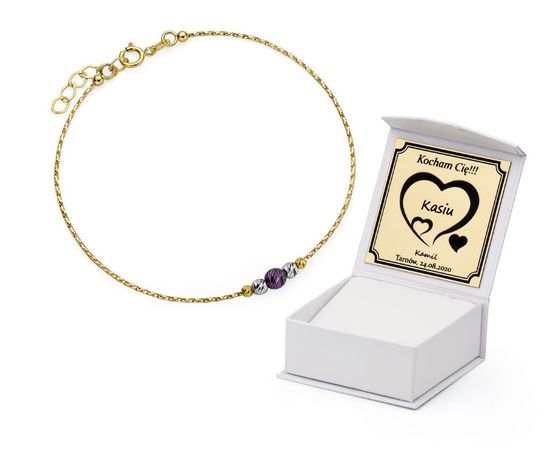 GRAWER Złota 585 Bransoletka z Kryształami Cyrkoniami Branzoletka