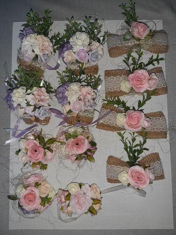 Koplet różnych dekoracji weselnych w stylu rustykalnym. Ślub / Wesele