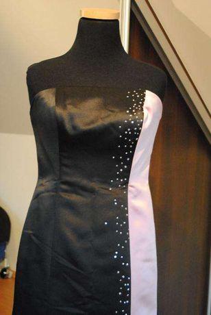 suknia wieczorowa czarno rozowa, sukienka sylwester, wesele, bal