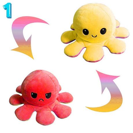 Двухсторонний осьминог перевертыш, игрушка плюшевый осьминог