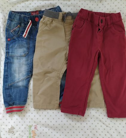 Spodnie chłopięce 80 86 na 12-18 m-cy 3 pary