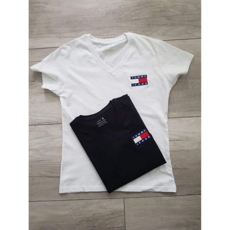 Tommy Hilfiger T-shirt damski V-neck Logo Haft