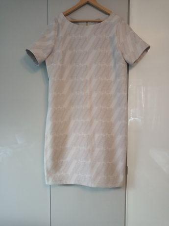 Elegancka biała sukienka do pracy i na uroczystości roz. 48