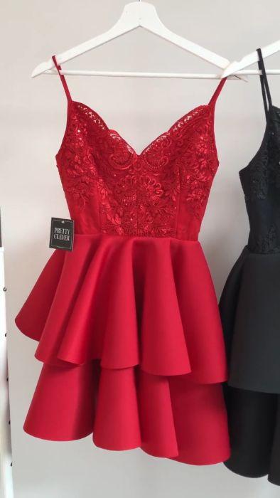 Sukienka krótka emo leila pianka cekiny na ramiączka czerwona Giebułtów - image 1