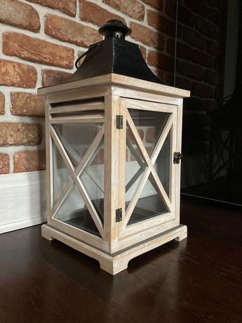 Biały drewniany lampion - duży.