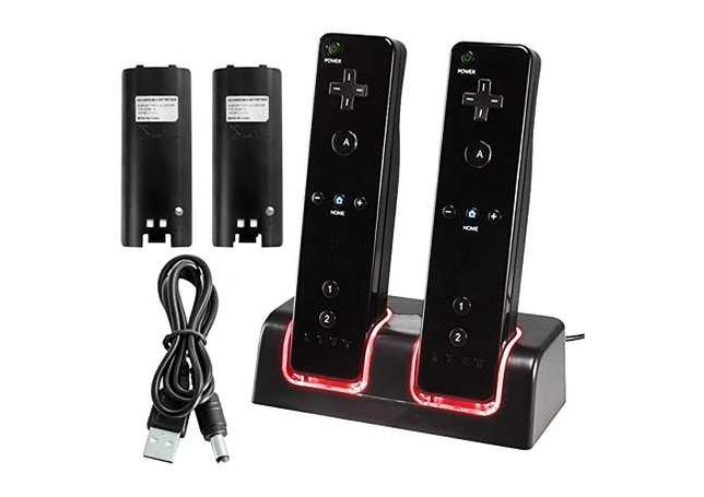 Wii   WiiU - Dock Carregador Comandos PRETO + 2 Baterias - NOVO