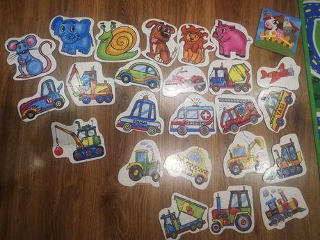 Puzzle kartonowe już dla dwulatka. 4 zestawy