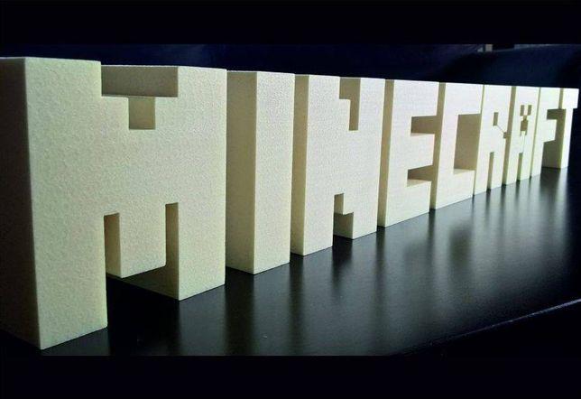 Napis ozdobny 3D - MINECRAFT - styrodur - mały 64x9 cm grubość 5 cm