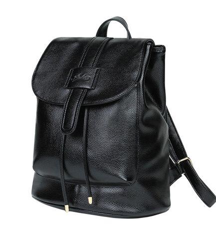 Рюкзак женский кожаный Deluxe черный мат.