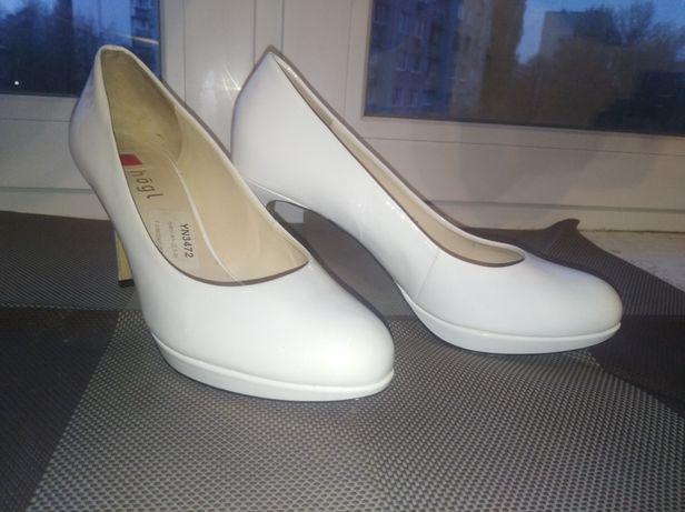 Туфли женские белые лакированные, Hogl, размер 38.5
