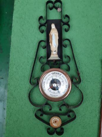 Stary przedwojenny  francuski barometr, termometr z Matką boską z Lurt