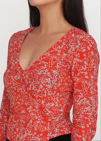 Красивая красная блуза на запах топ укороченная в винтажном стиле H&M