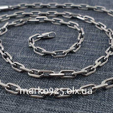 Серебряная цепочка якорное плетение. Мужская цепь якорь серебро 925