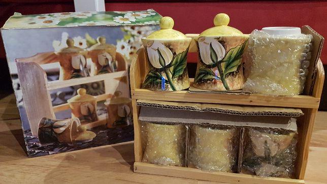 Pojemniki na przyprawy ceramika szkło -zestaw 6 sztuk na stojaku NOWE