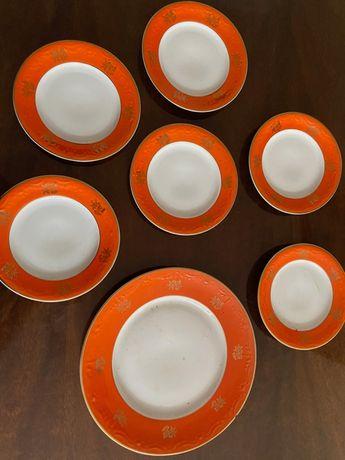 Porcelana Talerze Deserowe Karolina PRL Retro Vintage