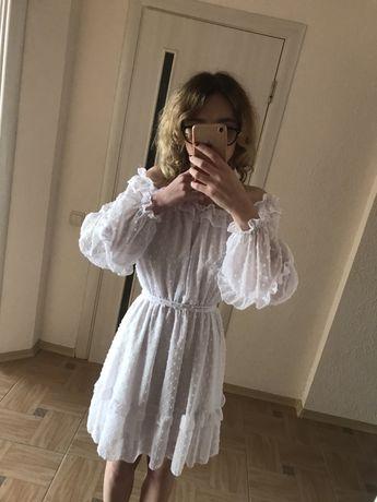 Платье новое белое осеннее шифон платье осень платье с длинным рукавом