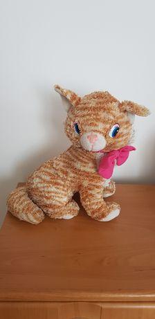 Maskotka kot z różową kokardą wys. 37 cm