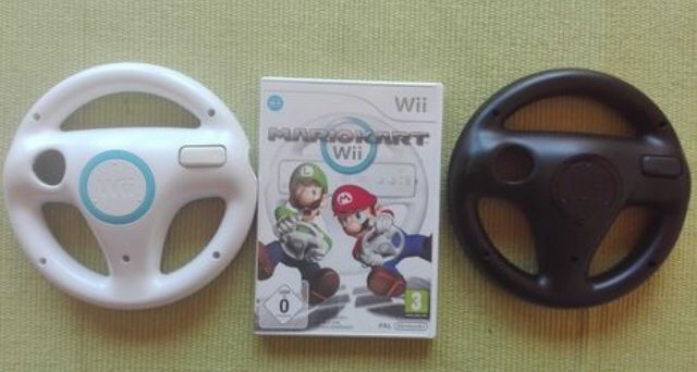 Jogo Consola Nintendo Wii - Super Mario Kart + 2 Volantes Originais
