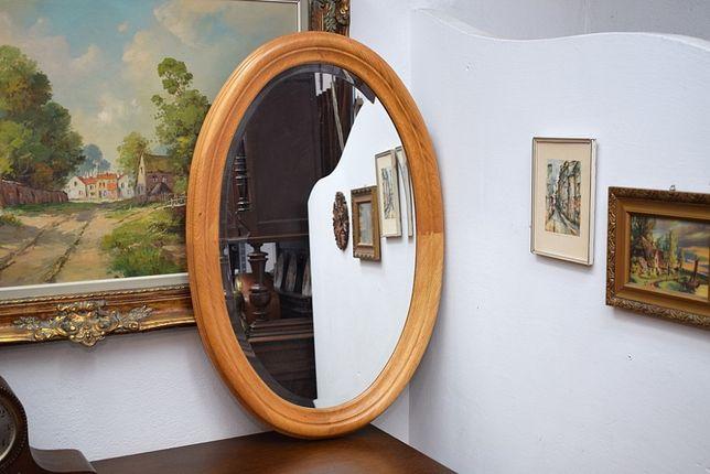 Piękne lustro w dębowej ramie - fazowane wysyłam