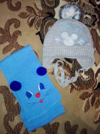 Шапка зима, зимняя шапка, шарф в подарок