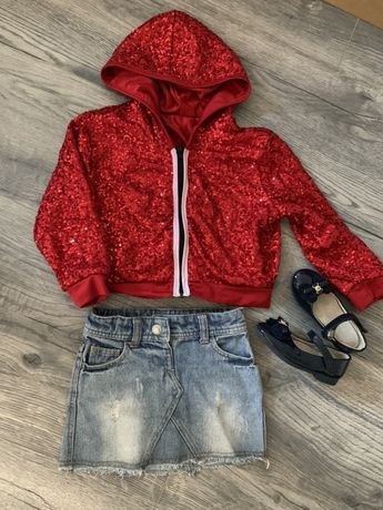 Бомбер кофта красная паетки 98-104,юбка и туфельки 26-27р в подарок