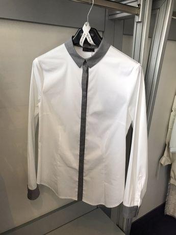 Bawełniana biała Koszula Peserico szare dodatki Premium Moliera S/M