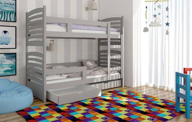 Łóżko piętrowe dla dzieci Janek 2 z szufladami + materace w zestawie