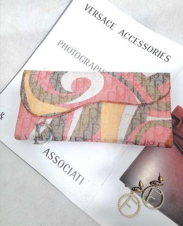 Кошелек портмоне Dior ткань розовый