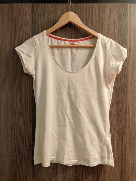 Biała koszulka tshirt bawełniana z krótkim rękawem S