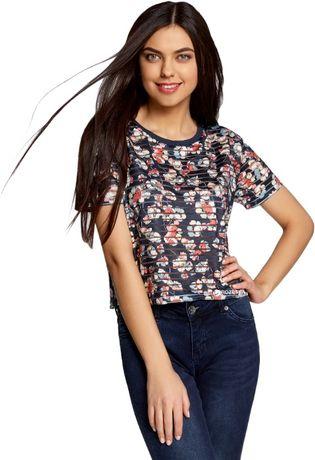 Кроп топ Oodji XS 34 блузка футболка ХС укороченная цветочный принт