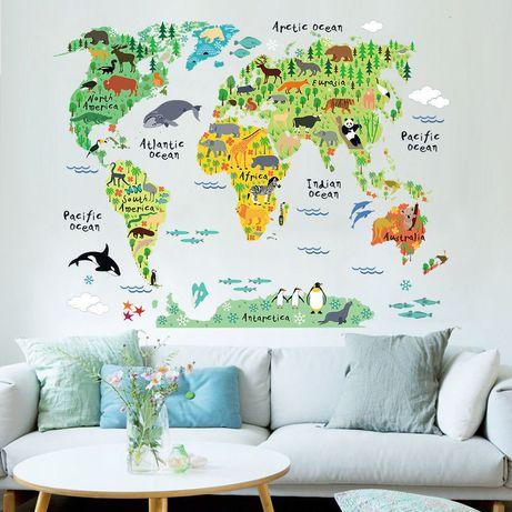 Интерьерная наклейка на стену обои Карта мира світу декор наліпка