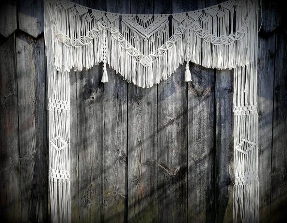 makrama tło ślubne ślub wesele ścianka boho rustykalny