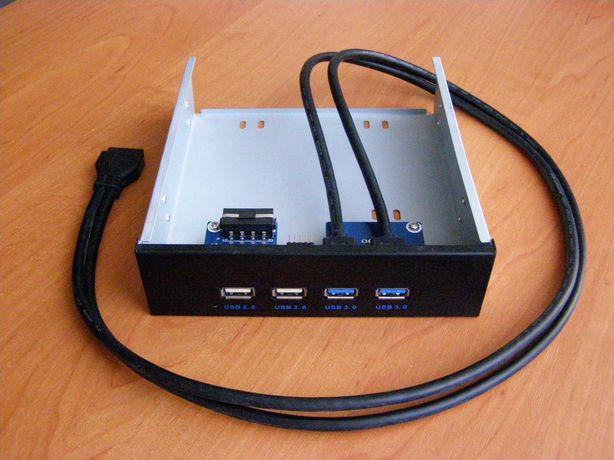 """USB-хаб, 5,25"""", 4 порта, для системного блока"""