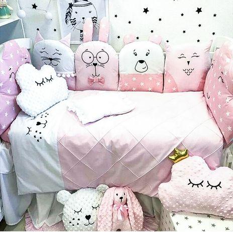 Комплект в ліжечко набор в кровать кроватку балдахін бортики балдахин
