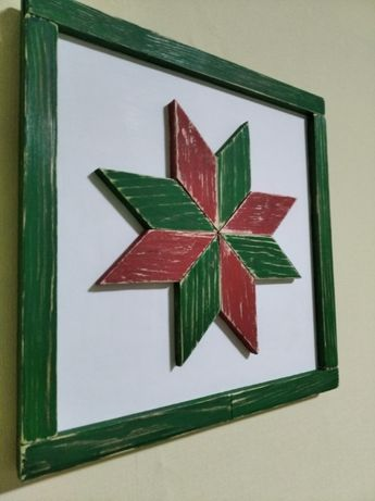 Декор, зірка, восьмикутна зірка зелено-червона,