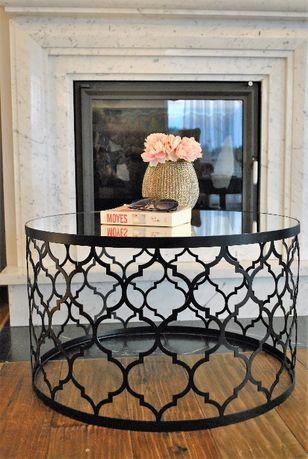 okrągły stolik lustrzany kawowy ława glamour koniczynka złoty czarny