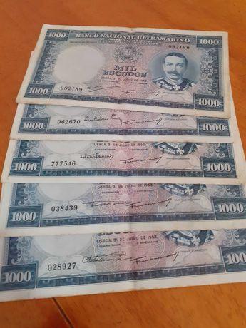 5notas de Moçambique  de 1953 assinaturas diferentes